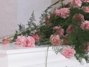 Kistepynt med rosa nelliker